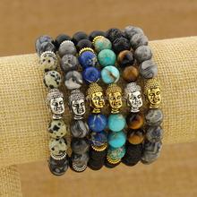 BRU0731 Top selling magnetic bracelet, bracelet for man,peace matte onyx beaded silver buddha bracelet
