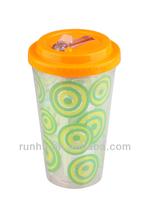 printed plastic rubber beer travel mug slide lid