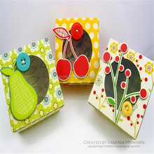 Cute fruit pattern little paper gift box with round PVC window