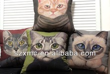 cat and dog face printed pillow covers custom kids toy pet cushion