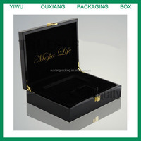 piano black lacquer finish luxury wooden iphone 6s box with business card holder