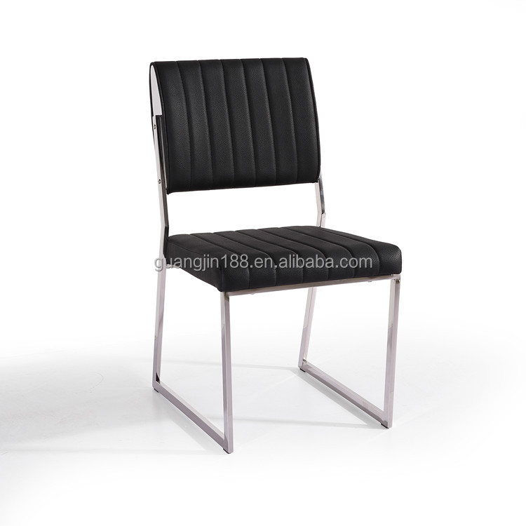Black leather dining chair stainless steel legs dining for Leather dining chairs with metal legs