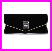 New arrival european fashion luxury women designer evening bag envelop clutch bag in black color HD1781