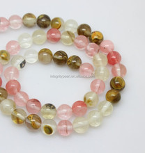 8mm colorful round watermelon jade beads