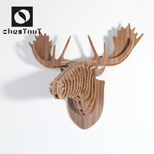 European vintage wooden carving animal moose heads home interior decoration craft