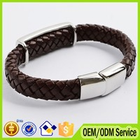 2015 Fashion custom single leather rope bracelet magnetic thick leather cord bracelet for man #B020