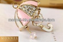 H345 -1 Monnel Fashion Popular Alloy White and Pink 3D Umbrella with White Flower Hanging Metal DIY Charm Necklace Pendant