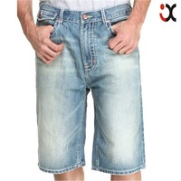 2015 embroidered back pockets slightly distressed design mens jean short jeans half pants JXQ974
