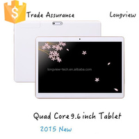 9.6 inch android tablet quad core 3G phone tablet wifi bluetooth MTK6582 0.3M/5.0M camera