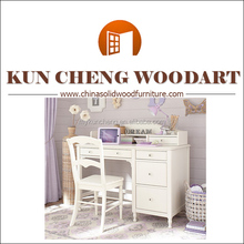 White wooden material kids writing table and chair/Smart kid bedroom study desk