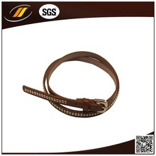 Hot Sale Women Latest Belt Design Nude Rivet PU Leather Belts with Cord