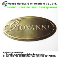2016 new custom antique copper brass brand logo metal labels and tags for handbags