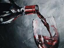 de vidrio de color rojo vino de pintura al óleo sobre lienzo nuevo diseño