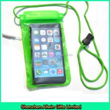 Cheap green waterprof mobile phone bag for earphone