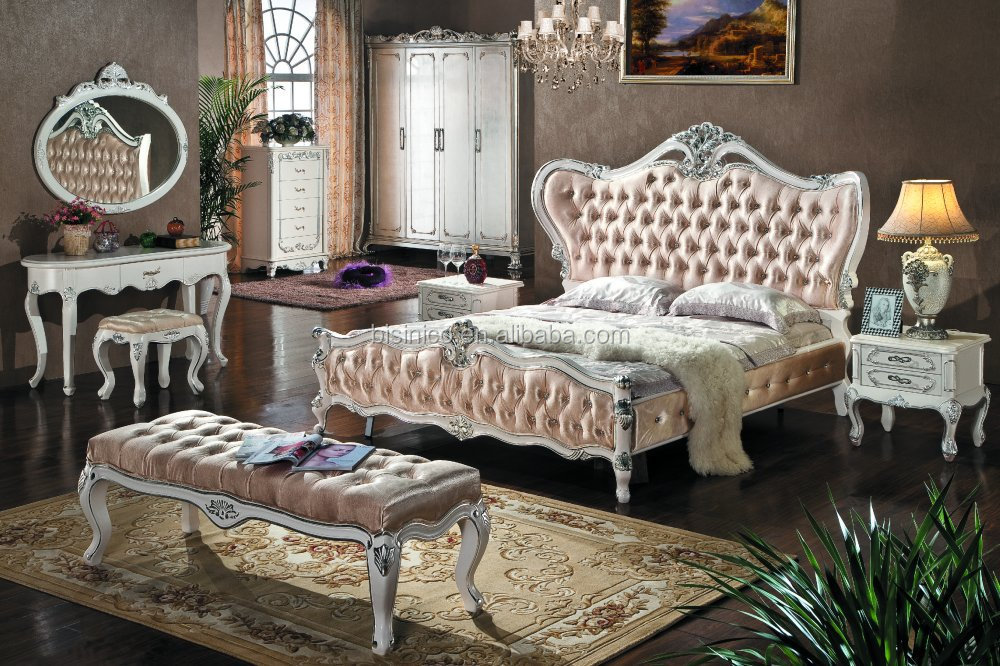 bedroom furniture set upholstered headboard luxury king size bed bf01