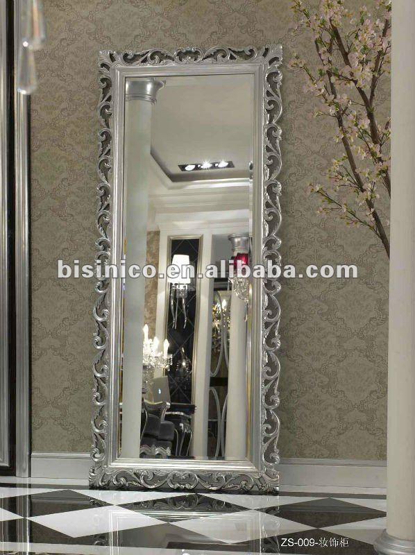 Silver Colour New Classical Wooden Living Room Furniture Floor Mirror Moq 1pc