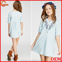 Unlined lightweight embroidered children girl dress wholesale children's boutique clothing