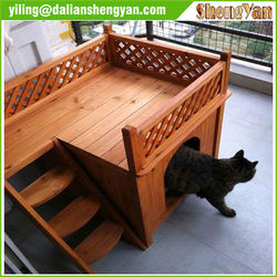 Dog house with stairs , popular dog cage , wood dog kennel