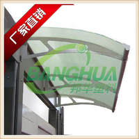 plastic polycarbonate large door canopy awning in black bracket