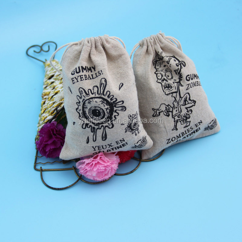 Large eco customized drawstring linen gift bags for packing