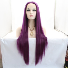 wholesale price beautiful free part long purple cosplay lace front wig made in china