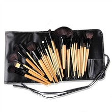 Hot!15 pcs Soft Synthetic Hair make up tools kit Cosmetic Beauty Makeup Brush Black Sets with Leather Case