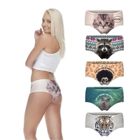 wet ladie hot sexy panties pug dog cut cat sexy girls tight lingerie stretchy underpanties 3d digital full print custom hot sale
