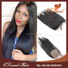 Yaki straight 3.5*4 full lace closure indian human hair bleached knots with baby hair