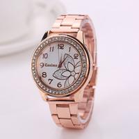 77 Fashion Luxury Casual Gold Watch Stainless Steel Wristwatch Dress Watches Electronics Flower Relojes Quartz Watch XR1044