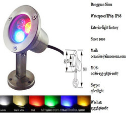 3 W decorative RGB Emitting Color IP68 undewater pool light for pond