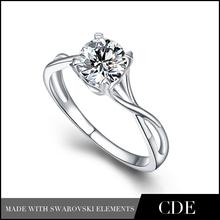 Crystals from Swarovski Jewelry in Silver Diamond Wedding Ring