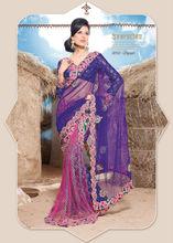 Embroidery Blue Designer Lace Work Lehenga Saree