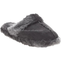 Women's Faux Suede Slipper Scuff with Faux Fur Trim Indoor slippers winter warm floor slippers