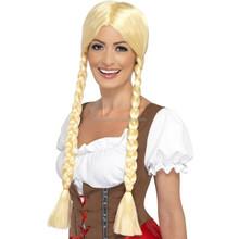 Womens Long Blonde Braided Wig Oktoberfest German Beer Girl Costume Accessory