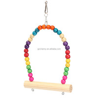 Best Price High quality Colorful Wooden Bird Parrot Swing Stand Cage Hanging Toys For Cockatiel Budgie