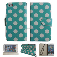 Wholesale green white dots flip Leather printed Case Cover Skin for iphone5