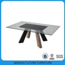 Shanghai Furniture Fair new model wood glass center table/coffee table set with mdf leg