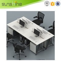 Sunshine office desk partition designs wood laminate partition low partition for 4 person melamine surface finishing