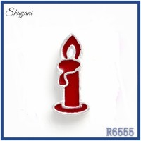 Top selling wholesale Chinese factory enamel zinc metal candle design red charms for charm bracelets making