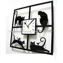 Home Decoration Black Cat Acrylic quartz clock/Creative Lovely 3D Cartoon Bracket Mute Watch Green Wallpaper Gifts for Children
