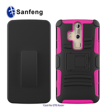 Heavy duty rubberized cover mobile phone holster cover cases for zte axon pro with belt clip