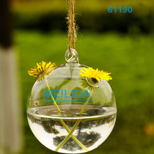 glass shaped hanging ball vase