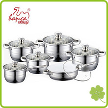 Professional Stainless Steel 12pcs Induction Ready Cookware Set Ceramic Fry Pan Cookware