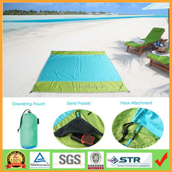 Portable Lightweight Soft Sandless Bule Parasheet Nylon Beach Blanket with Hooked Pouch