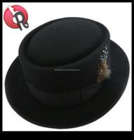 NEW Henschel Hats Black/Red PORKPIE Wool Soft Felt Dress Fedora Top Hat NWT