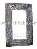 White Wash Teak Wall Mirror Frame