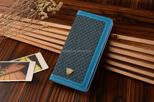 Blue Small checkered fabric with PU bordering Leather cell phone case for iphone 6