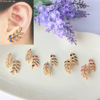 Latest new arrival colorful crystal plated gold clip-on earrings