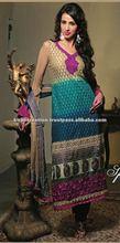 Cream & Blue designer shalwar kameez Material