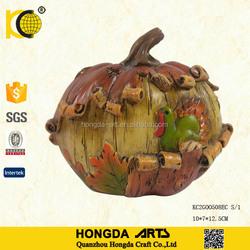 4.5 Inch Newest Design Thanksgiving Harvest Bark Resin Pumpkin